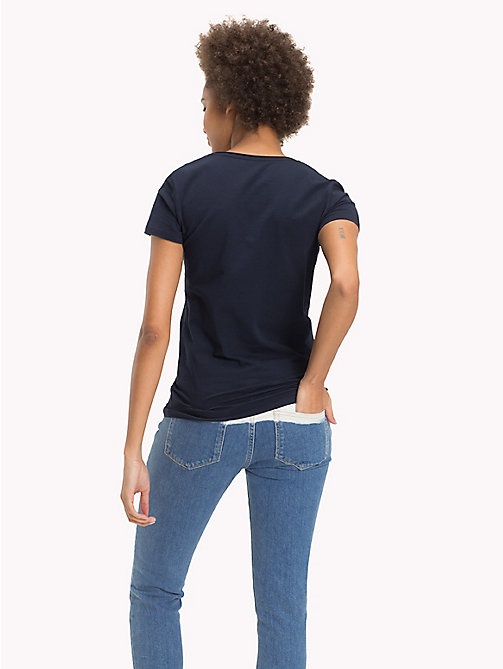 TOMMY HILFIGER Cotton Round Neck Top - MIDNIGHT - TOMMY HILFIGER Sustainable Evolution - detail image 1
