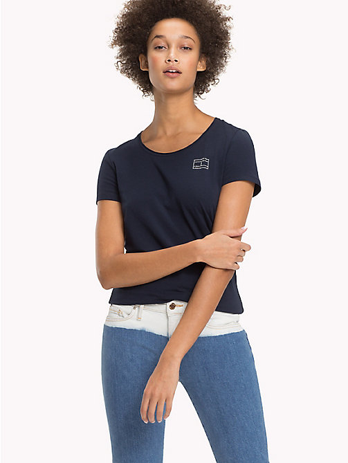TOMMY HILFIGER Cotton Round Neck Top - MIDNIGHT - TOMMY HILFIGER Sustainable Evolution - main image