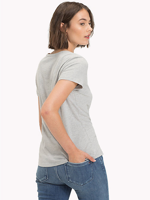 TOMMY HILFIGER Brushed Cotton T-Shirt - LIGHT GREY HTR - TOMMY HILFIGER T-Shirts - detail image 1