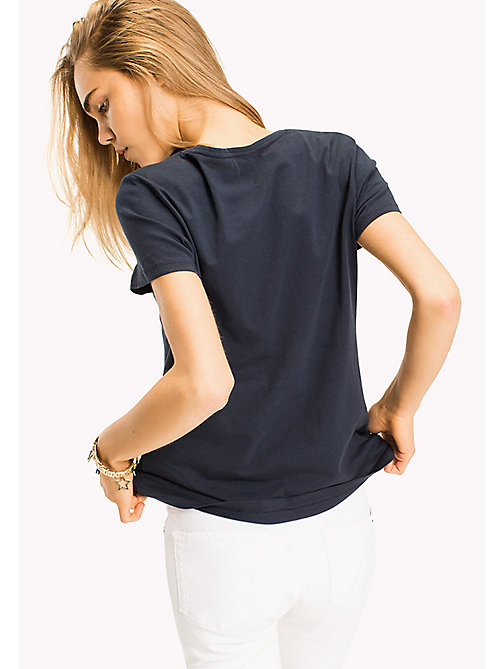 TOMMY HILFIGER Brushed Cotton T-Shirt - 413-MIDNIGHT - TOMMY HILFIGER T-shirts - image détaillée 1