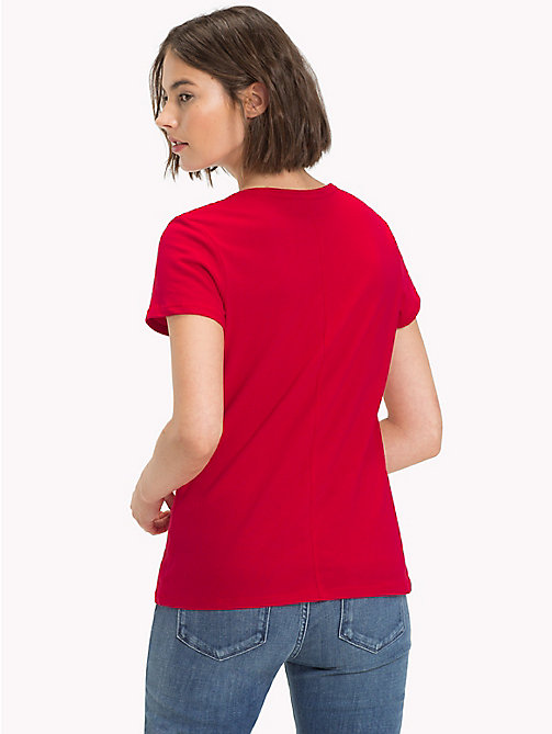TOMMY HILFIGER Brushed Cotton T-Shirt - CRIMSON -  Camisetas - imagen detallada 1