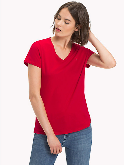 TOMMY HILFIGER V-Neck T-Shirt - CRIMSON - TOMMY HILFIGER Tops - main image
