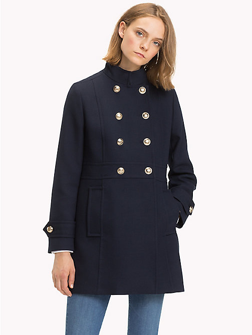 TOMMY HILFIGER Long Buttoned Trench Coat - 413-MIDNIGHT - TOMMY HILFIGER Coats - main image