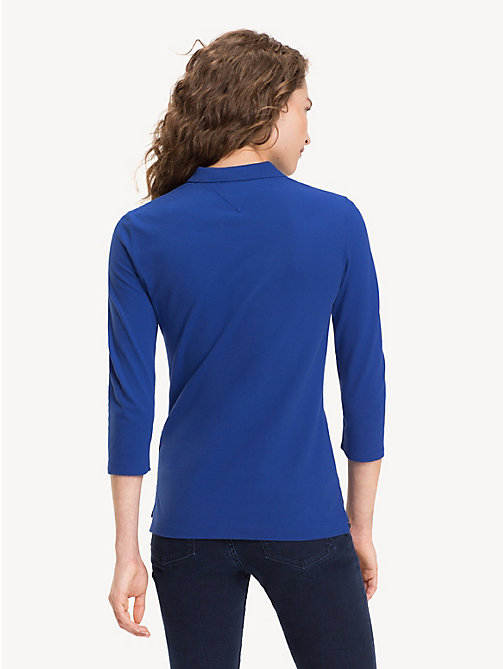 TOMMY HILFIGER Slim Fit Three Quarter Sleeve Polo - MAZARINE BLUE - TOMMY HILFIGER Polo Shirts - detail image 1