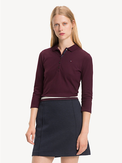 TOMMY HILFIGER Slim Fit Three Quarter Sleeve Polo - PLUM - TOMMY HILFIGER Polo Shirts - main image