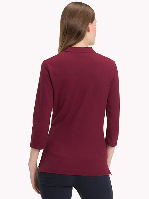 TOMMY HILFIGER Slim Fit Three Quarter Sleeve Polo - CABERNET HTR - TOMMY HILFIGER Black Friday Women - detail image 1