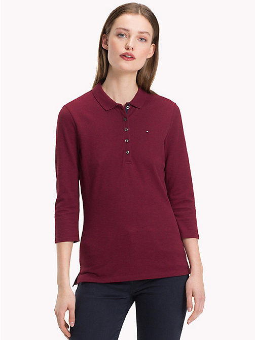 TOMMY HILFIGER Slim Fit Three Quarter Sleeve Polo - CABERNET HTR - TOMMY HILFIGER NEW IN - main image