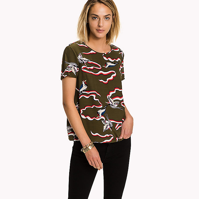 TOMMY HILFIGER Printed Viscose Top - HALLIE PRT WHITE / MAGENTA - TOMMY HILFIGER Clothing - main image