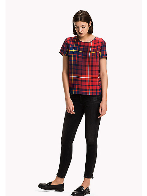 TOMMY HILFIGER Printed Viscose Top - TOMMY TARTAN LARGE RED - TOMMY HILFIGER Women - main image