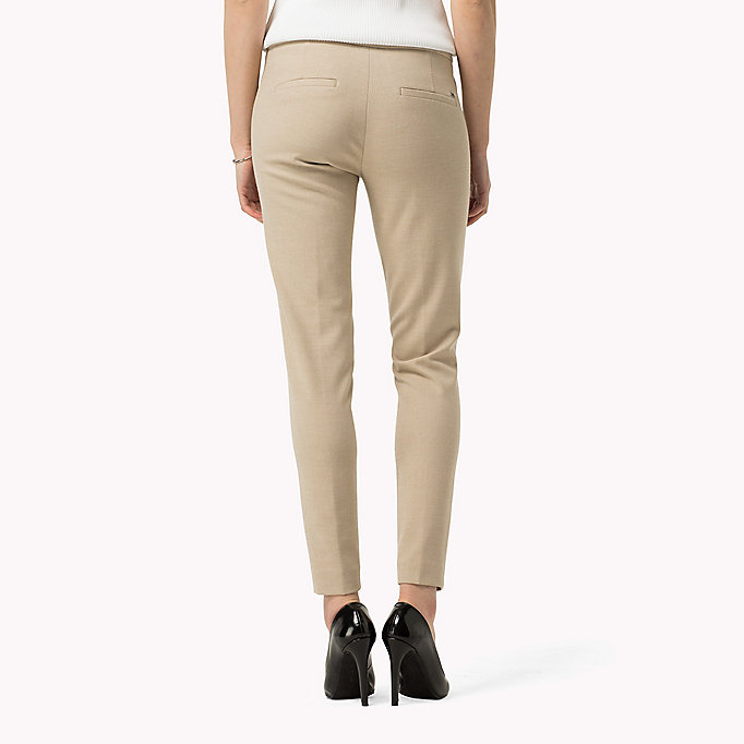 TOMMY HILFIGER Textured Ankle Trousers - SMOKED PEARL / WARM OLIVE - TOMMY HILFIGER Clothing - detail image 1