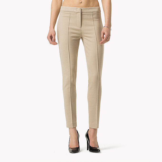TOMMY HILFIGER Textured Ankle Trousers - SMOKED PEARL / WARM OLIVE - TOMMY HILFIGER Clothing - detail image 3