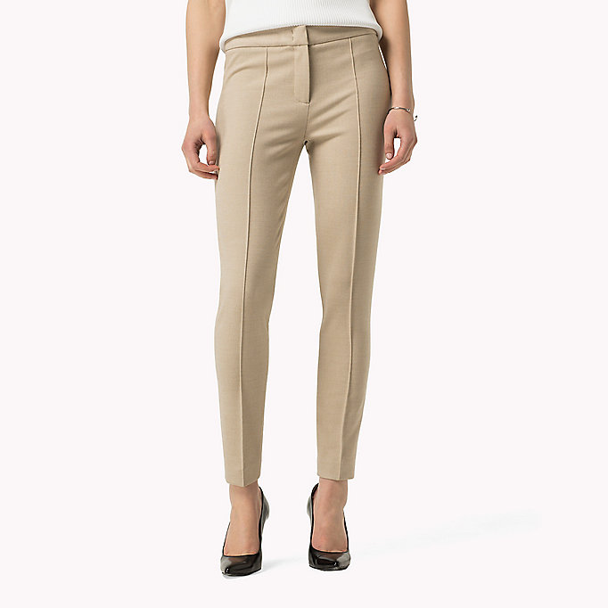 TOMMY HILFIGER Textured Ankle Trousers - SMOKED PEARL / WARM OLIVE - TOMMY HILFIGER Clothing - main image