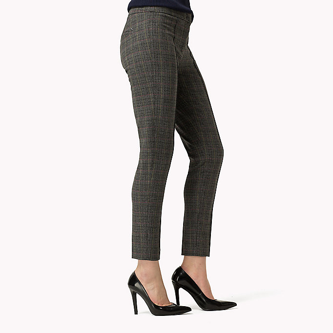 TOMMY HILFIGER Textured Ankle Trousers - FEATHER GREY / SNOW WHITE - TOMMY HILFIGER Clothing - detail image 2