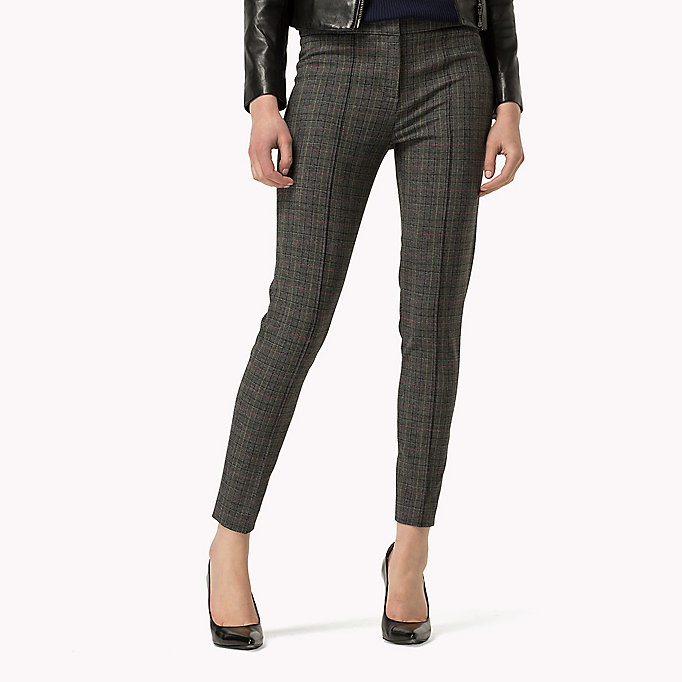 TOMMY HILFIGER Textured Ankle Trousers - FEATHER GREY / SNOW WHITE - TOMMY HILFIGER Clothing - main image