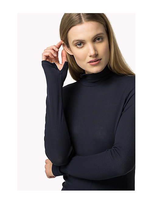 TOMMY HILFIGER Turtle Neck Top - PEACOAT -  Clothing - main image