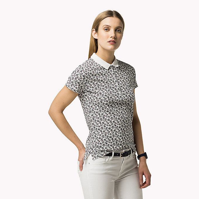 TOMMY HILFIGER Printed Fitted Polo - HALLIE PRT OXFORD - TOMMY HILFIGER Clothing - detail image 2