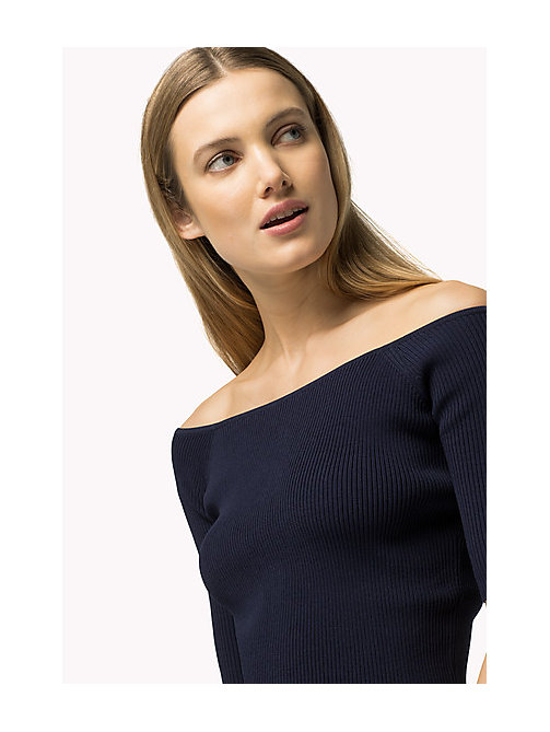 TOMMY HILFIGER Off-Shoulder Jumper - PEACOAT - TOMMY HILFIGER Women - main image