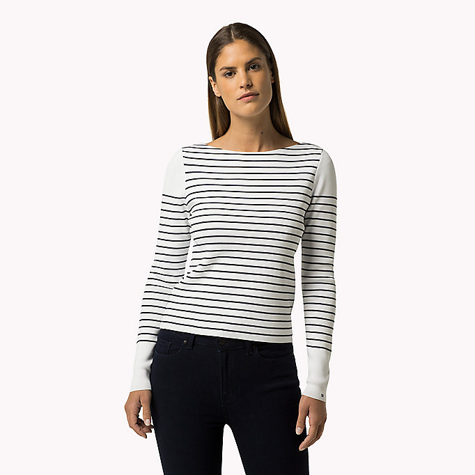 TOMMY HILFIGER Striped Jumper - PEACOAT / CLASSIC WHITE - TOMMY HILFIGER Clothing - main image