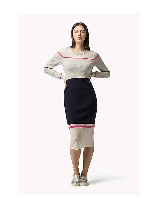 TOMMY HILFIGER Sheer Contrast Dress - LIGHT GREY HTR / PEACOAT / MAGENTA - TOMMY HILFIGER Dresses, Jumpsuits & Skirts - main image