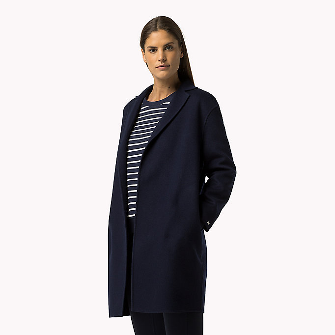 TOMMY HILFIGER Wool Blend Coat - KENTUCKY BLUE - TOMMY HILFIGER Clothing - main image