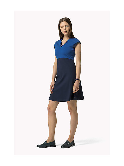 TOMMY HILFIGER Capped Sleeve Dress - HOLLIE STP / PEACOAT / SNOW WHITE - TOMMY HILFIGER Dresses, Jumpsuits & Skirts - main image