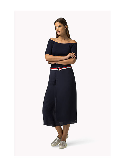 TOMMY HILFIGER Pleated Skirt - PEACOAT - TOMMY HILFIGER Dresses, Jumpsuits & Skirts - main image