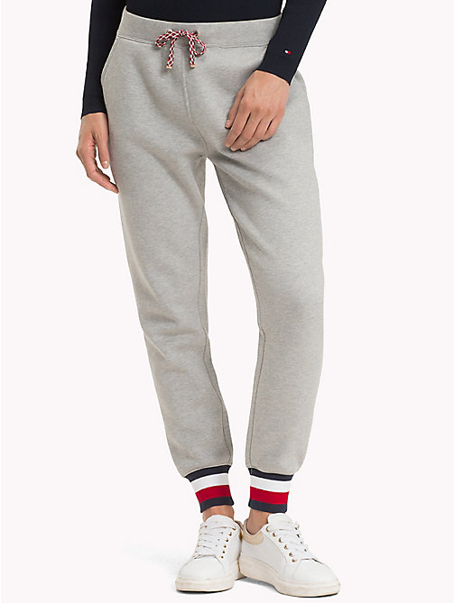 TOMMY HILFIGER Signature Tape Joggers - LIGHT GREY HTR - TOMMY HILFIGER Trousers & Shorts - main image