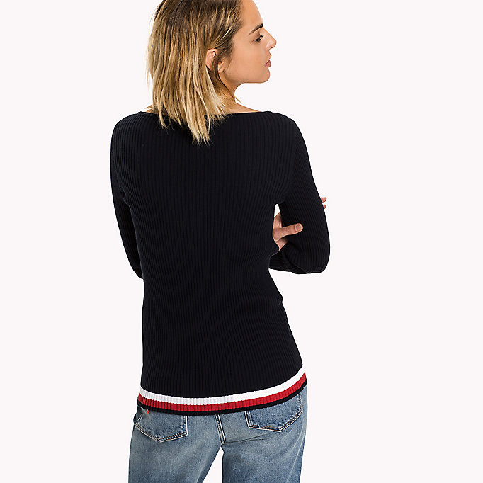 TOMMY HILFIGER Slim Fit Boat Neck Jumper - TRUE RED / TANNIN HTR - TOMMY HILFIGER Clothing - detail image 1