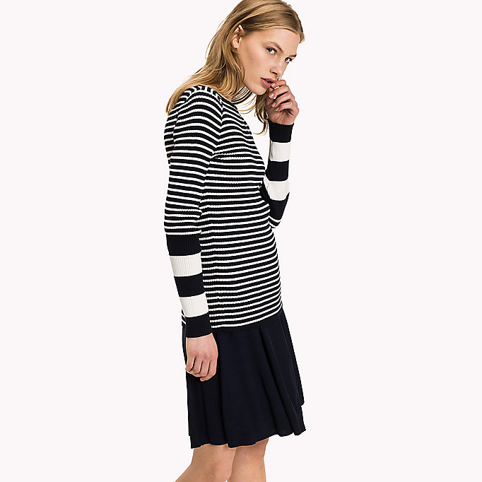 TOMMY HILFIGER Slim Fit Boat Neck Jumper - SNOW WHITE - TOMMY HILFIGER Clothing - main image