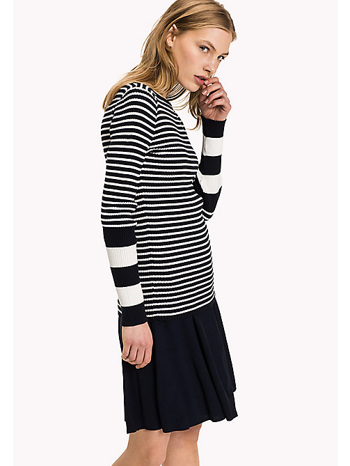 TOMMY HILFIGER Slim Fit Boat Neck Jumper - MIDNIGHT / SNOW WHITE - TOMMY HILFIGER Women - main image