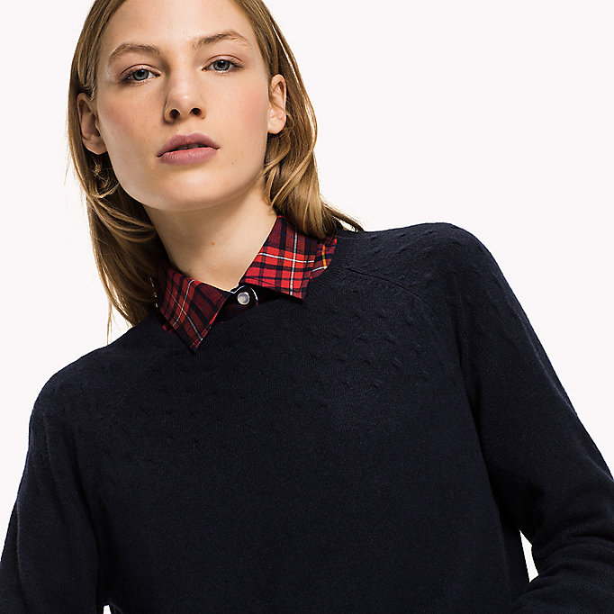 TOMMY HILFIGER Wool Cashmere Cable Jumper - BLACK BEAUTY - TOMMY HILFIGER Clothing - detail image 2