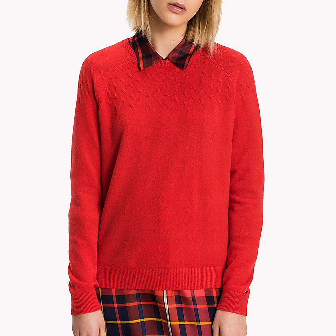 TOMMY HILFIGER Wool Cashmere Cable Jumper - TRUE RED / SNOW WHITE / MIDNIGHT / LIGHT - TOMMY HILFIGER Clothing - detail image 2