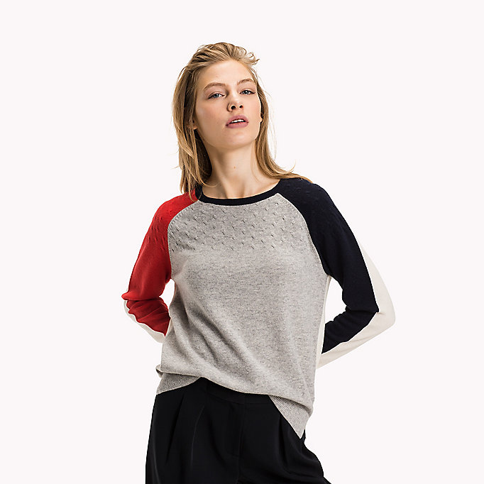 TOMMY HILFIGER Wool Cashmere Cable Jumper - SNOW WHITE - TOMMY HILFIGER Clothing - main image