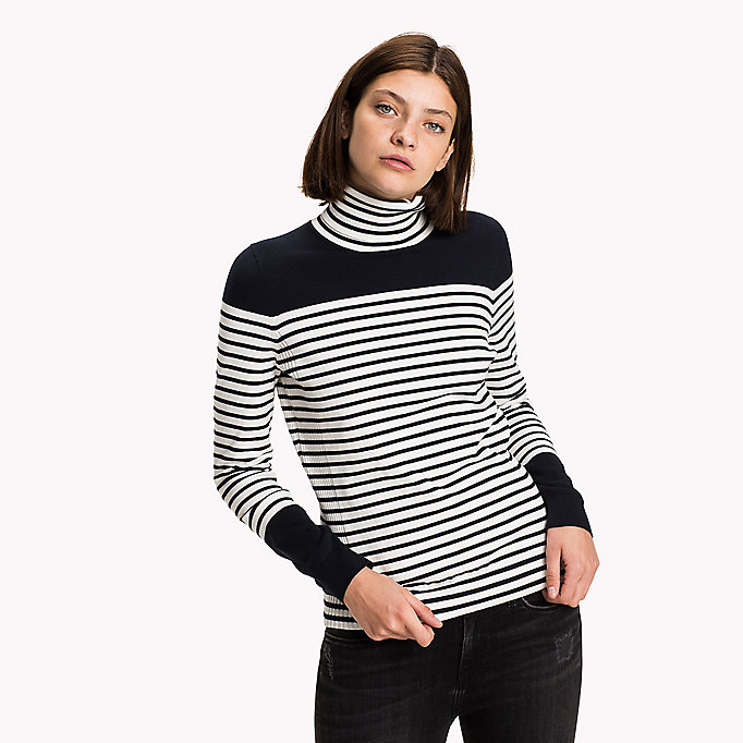 TOMMY HILFIGER Fitted Roll-Neck Jumper - TRUE RED / SNOW WHITE / MIDNIGHT - TOMMY HILFIGER Clothing - main image