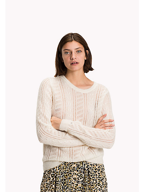 TOMMY HILFIGER Alpaca Wool Blend Round Neck Jumper - SNOW WHITE - TOMMY HILFIGER Women - detail image 1