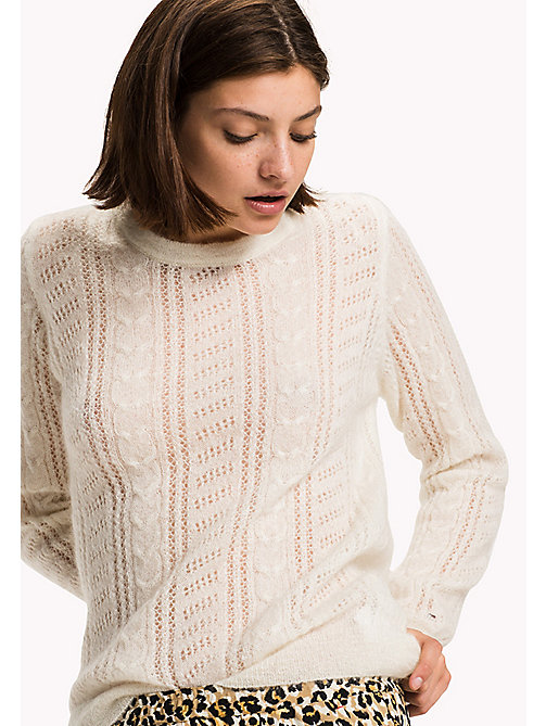 TOMMY HILFIGER Alpaca Wool Blend Round Neck Jumper - SNOW WHITE - TOMMY HILFIGER Women - main image