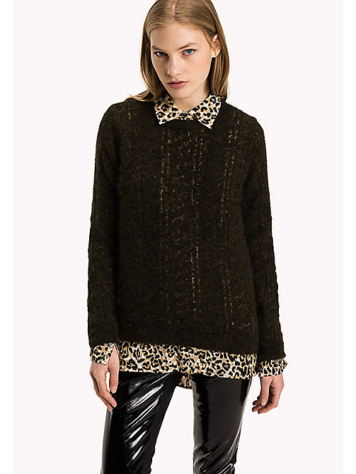 TOMMY HILFIGER Alpaca Wool Blend Round Neck Jumper - DARK OLIVE - TOMMY HILFIGER Women - main image