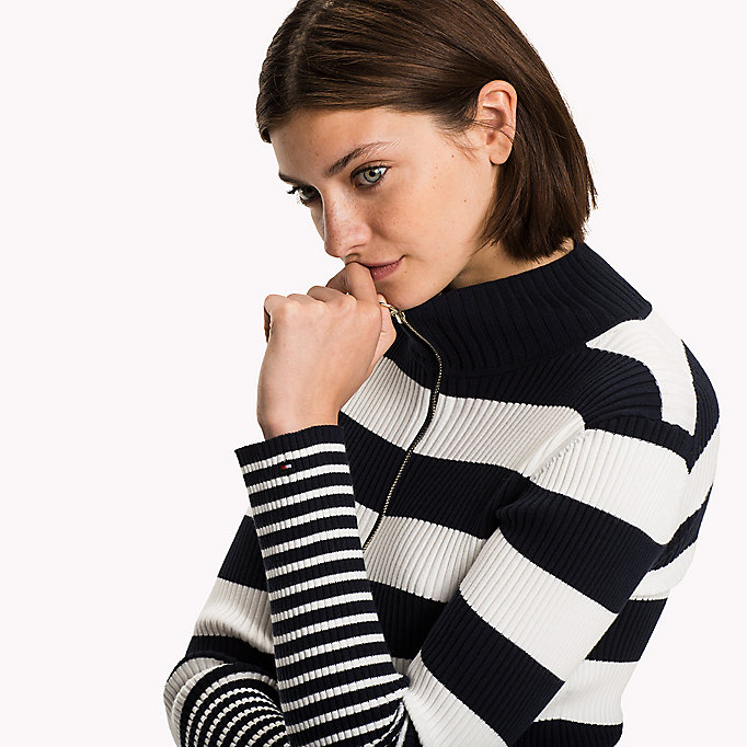 TOMMY HILFIGER Striped Mock Neck Cardigan - MIDNIGHT - TOMMY HILFIGER Clothing - detail image 2