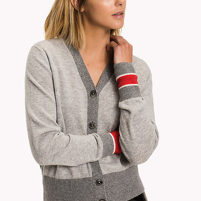 TOMMY HILFIGER Wool Cashmere V-Neck Cardigan - MIDNIGHT - TOMMY HILFIGER Clothing - detail image 2
