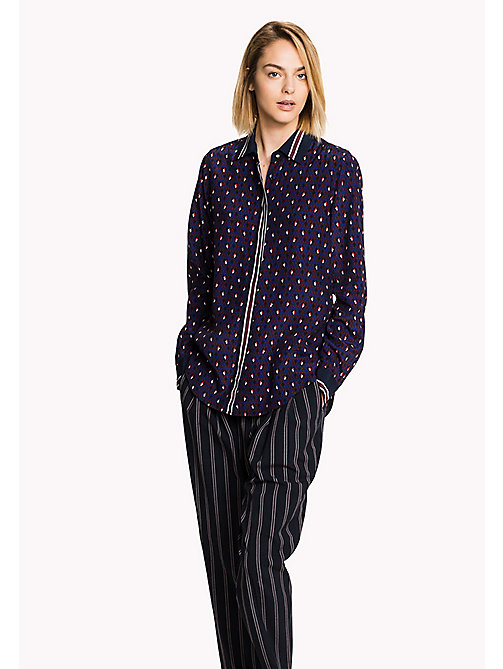 TOMMY HILFIGER Patterned Crepe Blouse - MINI ARGYLE GRAPE WINE - TOMMY HILFIGER Women - main image