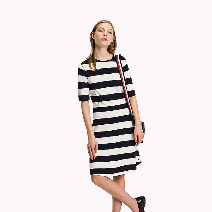 TOMMY HILFIGER Punto di Roma A-Line Dress - MIDNIGHT - TOMMY HILFIGER Clothing - main image