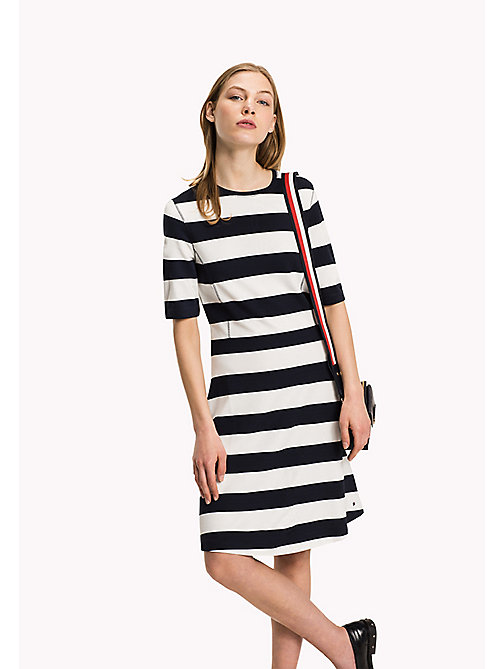 TOMMY HILFIGER Punto di Roma A-Line Dress - MIDNIGHT / SNOW WHITE - TOMMY HILFIGER Women - main image