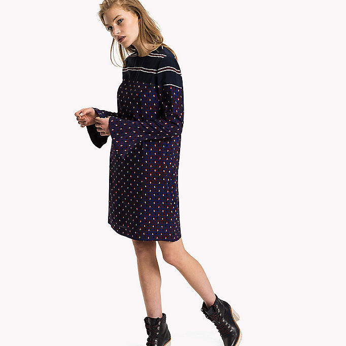 TOMMY HILFIGER Fitted Straight Flared Cuff Dress - BLACK BEAUTY - TOMMY HILFIGER Clothing - main image