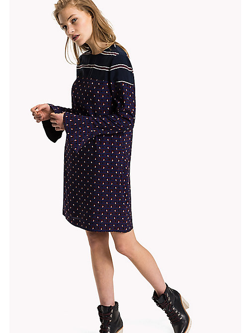 TOMMY HILFIGER Fitted Straight Flared Cuff Dress - MINI ARGYLE GRAPE WINE - TOMMY HILFIGER Dresses, Jumpsuits & Skirts - main image
