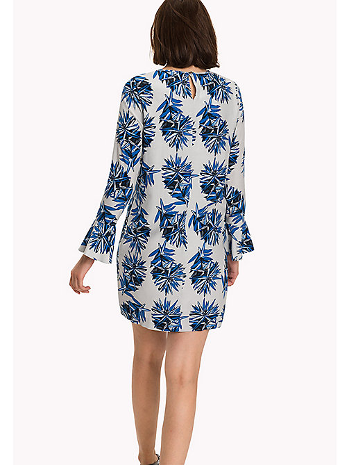 TOMMY HILFIGER Fitted Straight Flared Cuff Dress - KIEKE FLORAL BLUE - TOMMY HILFIGER Dresses, Jumpsuits & Skirts - detail image 1