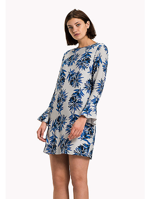 TOMMY HILFIGER Fitted Straight Flared Cuff Dress - KIEKE FLORAL BLUE - TOMMY HILFIGER Dresses, Jumpsuits & Skirts - main image