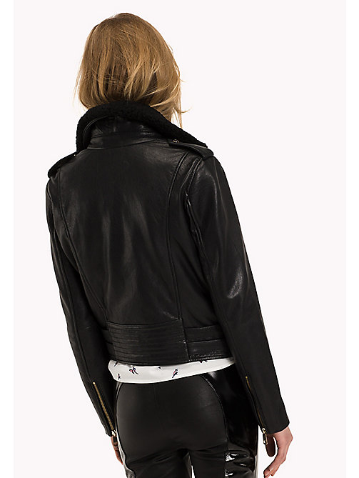 TOMMY HILFIGER Leather Biker Jacket - BLACK BEAUTY - TOMMY HILFIGER Women - detail image 1
