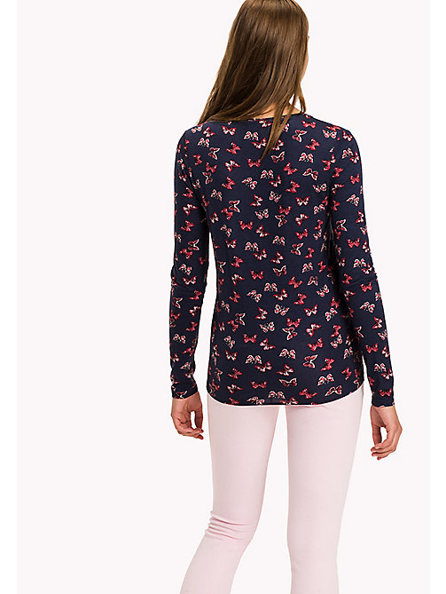 TOMMY HILFIGER Printed Regular Fit Top - TOMMY BUTTERFLY / PEACOAT - TOMMY HILFIGER Tops - detail image 1