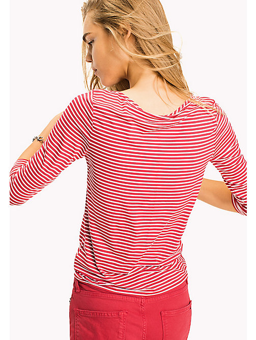 TOMMY HILFIGER Stripe Boat Neck Top - BRIGHT COBALT / SNOW WHITE STP - TOMMY HILFIGER Clothing - detail image 1