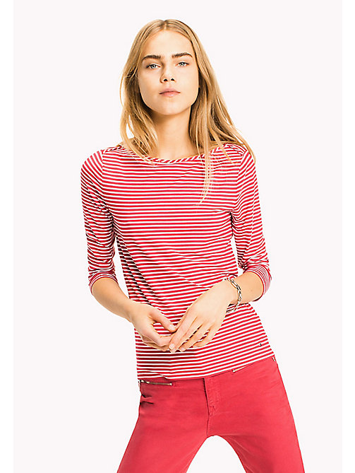 TOMMY HILFIGER Stripe Boat Neck Top - BRIGHT COBALT / SNOW WHITE STP - TOMMY HILFIGER Clothing - main image